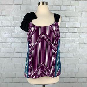 Trina Turk Sleeveless Silk Stripe Top 8 Q2758